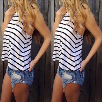 Hot Sexy Bralette Beach Comfortable Stylish Summer Women's Fashion Stripes Sleeveless Vest [6343456641]