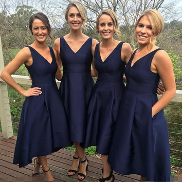2017 Garden Short High Low Navy Blue Bridesmaid Dresses Cheap V-Neck Pleats Maid Of Honor Gowns Wedding Party Dress B146