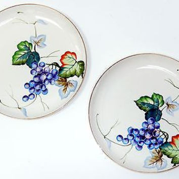 Occupied Japan Plate Matsumura Ironstone Mid Century SET 2 Hand Painted Grapes