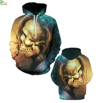 Halloween Skull Hoody Punk Hoodies Retero Skeleton Skateboarding Sweatshirts Autumn Outerwear Sweaters Women's Pullovers Loose
