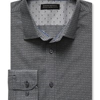 Banana Republic Mens Tailored Slim Fit Non Iron Square Print Shirt