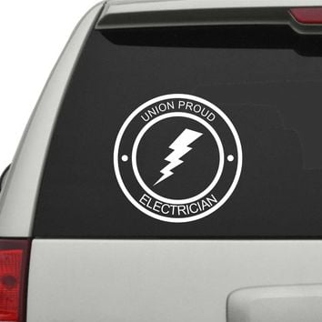Dabbledown Decals Union Proud Electrician Car Truck Window Windshield Lettering Decal Sticker Decals Stickers JDM Drift Dub Vw Lowered Jdm Fresh Detailed Stance Fitment 4x4