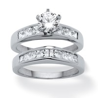2 Piece 2.23 TCW Round Cubic Zirconia Bridal Ring Set in Platinum over Sterling Silver