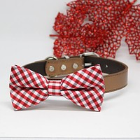 Dog Plaid Red Bow tie collar, Pet accessory, Dog collar, birthday gift, Plaid Red, Leather
