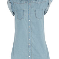 Long-line light wash shirt - Shirts - Fashion Tops - Clothing - Dorothy Perkins