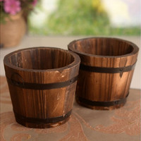 Carbonized Wood Barrel Wooden Flower Pot Basket Flower Bow For Wedding Home Decor [7981686087]