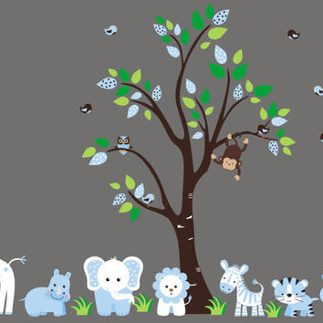 "Nursery Wall Decals, Blue Animal Colors, Blue Jungle Nursery Decals, Blue Colors and Themed Baby Room, Baby Blue Safari Decals - 83"" x 67"""