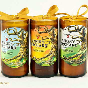 Drinking Gift 1 Angry Orchard Hard Cider Recycled Candle - Apple Ginger, Elderflower or Crisp Apple Spooky Halloween October  Beverage Gift