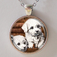 Puppies Pendant Necklace- Vintage Doggies Image Necklace- Personalized Animal Necklaces