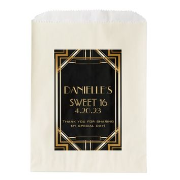Great Gatsby Inspired Sweet 16 Favor Candy Bag