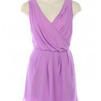 LILAC LOVELY CHIFFON PLEAT CROSSBACK DRESS @ KiwiLook fashion