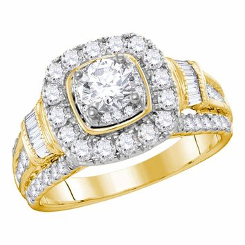 14kt Yellow Gold Womens Round Diamond Solitaire Bridal Wedding Engagement Ring 2.00 Cttw