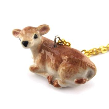 3D Porcelain Cattle Calf Cow Shaped Ceramic Pendant Necklace