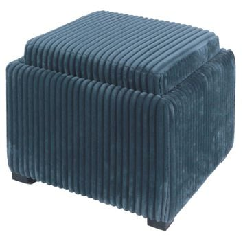 Cameron Square Fabric Storage Ottoman With tray, Midnight Thames Blue