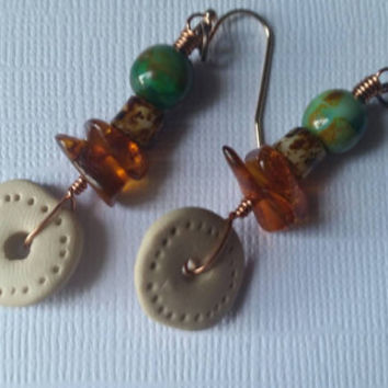 Baltic gypsy. Bohemian artisan earrings. Baltic amber. Czech glass. Copper. Polymer clay. Rose gold vermeil.