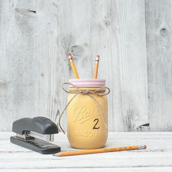 Back to school teacher gift, pencil painted mason jar. Yellow.