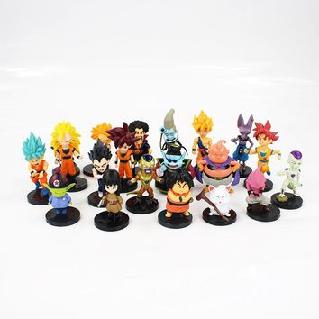 20pcs/lot Dragon Ball Z Figure Toy Goku Vegeta Super Saiyan God Hercule Frieza Boo Beerus Whis Anime DBZ Mini Model Dolls