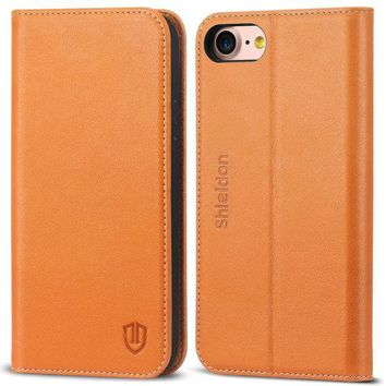 DCK4S2 iPhone 8 Case, iPhone 7 Case, SHIELDON Genuine Leather Wallet Flip Book Design Case with Kickstand [Credit Card Slots] [Magnetic Closure] [TPU Shockproof Interior Case] for iPhone 7 / 8 (2017) - Brown