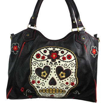 Banned Rockabilly Day of the Dead Flower Sugar Skull Embroidered Shoulder Bag
