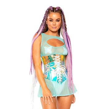 Sea Ice / White Holographic Corset Waist Cincher