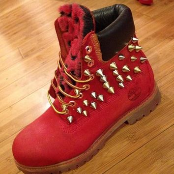 spiked red timberlands - Google Search