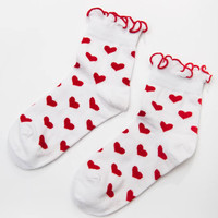 Red Hearts Socks - White