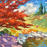 "SALE Gift Red tree near the pond - Palette knife oil painting on canvas by Dmitry Spiros. Size: 24""x32"", (60x80cm)"
