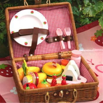 Kids' Toy Cute Wooden Pack of Dessert Set with a great cane carry box