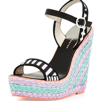 Lucita Mixed-Pattern Wedge Sandal, Black/White