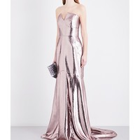 ROLAND MOURET - Brenner metallic off-the-shoulder gown | Selfridges.com