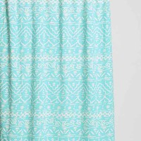 Magical Thinking Sketched Geo-Stripe Shower Curtain- Turquoise One