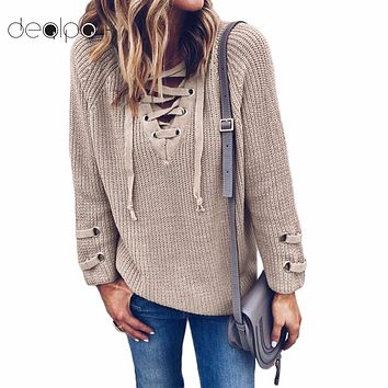 2018 Women V Neck Knitted Lace-up Sweater Striped Bandage