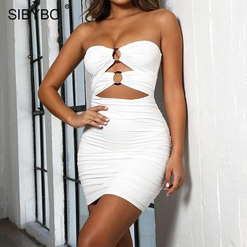 Sibybo Strapless Pleated Mini Sexy Dress Women Off Shoulder Hollow Out Summer Party Dress Backless Beach Casual Dress Short