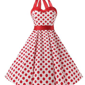 TDHQ Women's Vintage 1950s Rockabilly Polka Dots Audrey Dress Retro Cocktail Dress