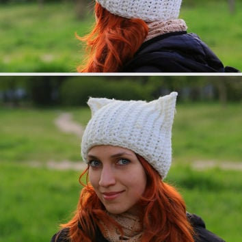 Нat with cat ears, knitting made of thick yarn large viscous, crochet hat, warm soft hat, romantic beanie, one of a kind, gift idea for her