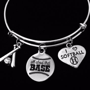 I Love Softball Charm Bracelet It's All About That Base Silver Expandable Adjustable Bangle Trendy One Size Fits All Gift Baseball Bat