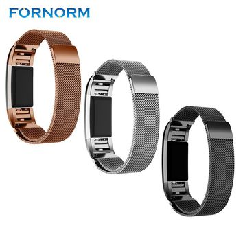 FORNORM Magnetic Milanese Loop Wrist strap For Fitbit Charge 2 band for Link Bracelet Stainless Steel Band Business men woman