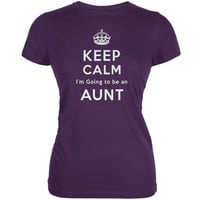 Keep Calm Going to be Aunt Purple Juniors Soft T-Shirt