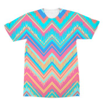 Blue and Pink Chevron American Apparel Sublimation T-Shirt
