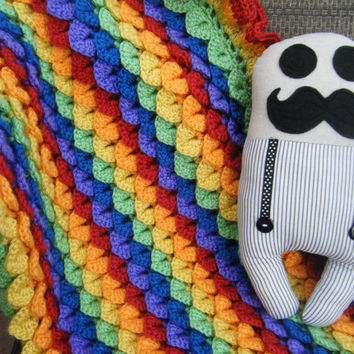 Rainbow Crocodile Stitch Crocheted Baby Blanket - Made to Order