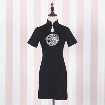 Lolita Dress Summer Women'S Dresses Sexy Dragon Embroidery Retro Cheongsam Girls Dress Party Mini Black Dress