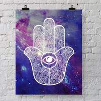 Hamsa Hand Galaxy Art Print - Hand of Fatima - Space Hamsa Illustration - Dorm Decor Poster - Ancient Amulet Symbolic Art  - SKU: 612