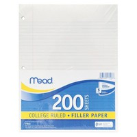 Mead® 11 x 8-1/2 Economical 15-lb. Filler Paper, College Ruled- White (200 Sheets per pack)