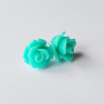 Teal earrings - Rose Resin cabochon - girls earrings - Floral jewelry - Tiny stud earrings - Flower girl gift - back to school