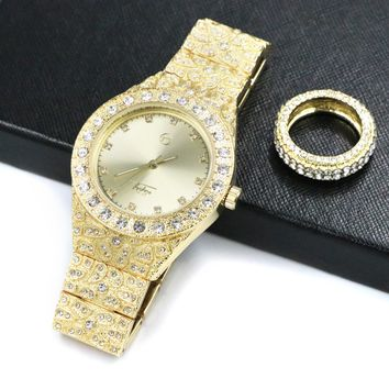 HIPHOP ICED OUT RAONHAZAE XTENTION GOLD FINISHED LAB DIAMOND WATCH & RING SET.