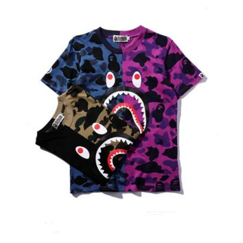 Fashion BAPE SHARK Camouflage Color Blocking  Shark Print Top T Shirt