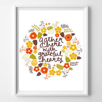 Gather Here With Grateful Hearts Hand Lettered Quote, Prints and Posters, Holiday Art, Christmas Decor, Typography