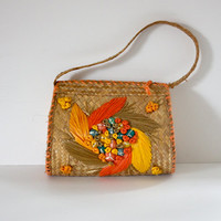Vintage 50s 60s Handbag / Straw Handbag / Floral Bermuda Bag / Retro Resort Bag / Spring Summer / 50s 60s Fashion
