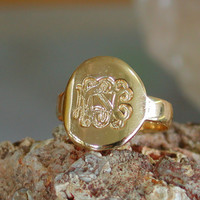 Personalized Monogram Ring - Engraved Initials Ring 18k Gold Plated