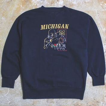 University Of Michigan 1998 Rose Bowl Midwest Embroidery Crewneck Sweatshirt Navy (XL)